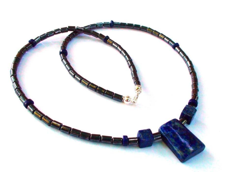Colier barbati / unisex – Hematit, lapis lazuli, argint 925