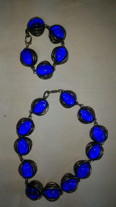 Комплект гривна и гердан със син камък