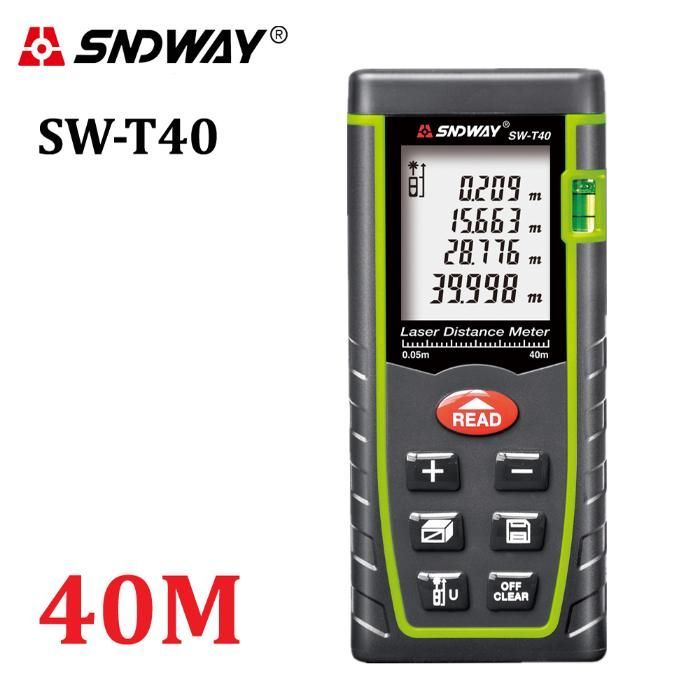 Ново! SNDWAY Дигитална Лазерна Ролетка 40м, 60м, 100м Т40