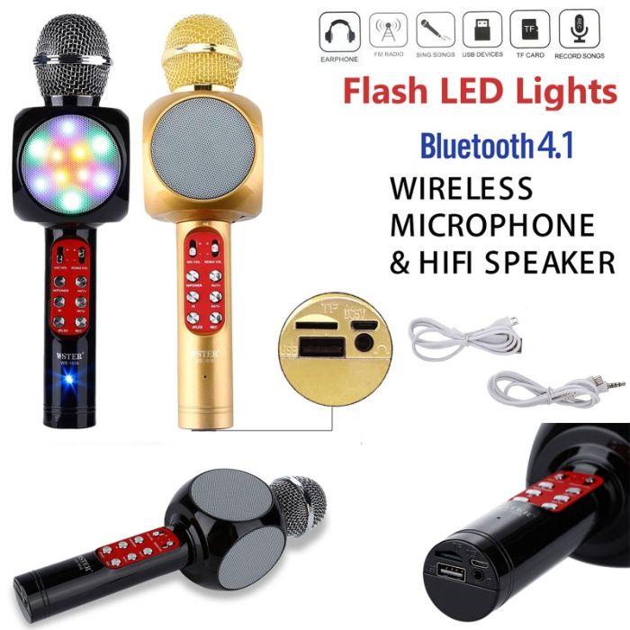 Караоке Bluetooth микрофон с вградени светещи тонколони