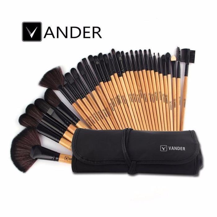 Set 32 Pensule Machiaj / Make Up Profesionale - VANDER Brand - Wood