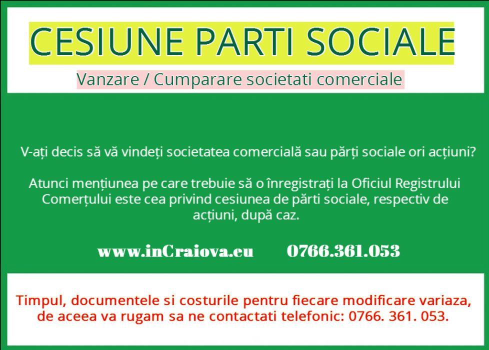 Cesiune Parti Sociale SRL - Contract Cesiune Asociati