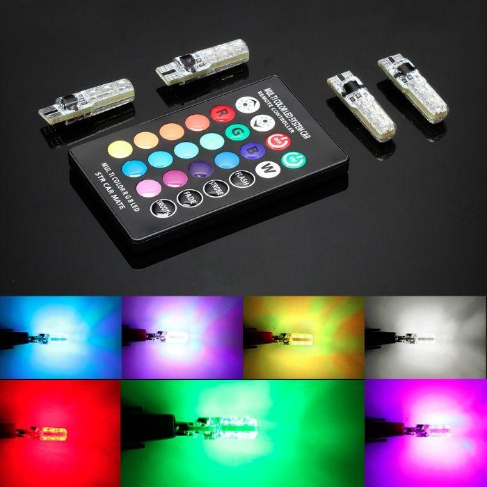 Becuri LED w5w T10 RGB cu telecomanda si functie stroboscop