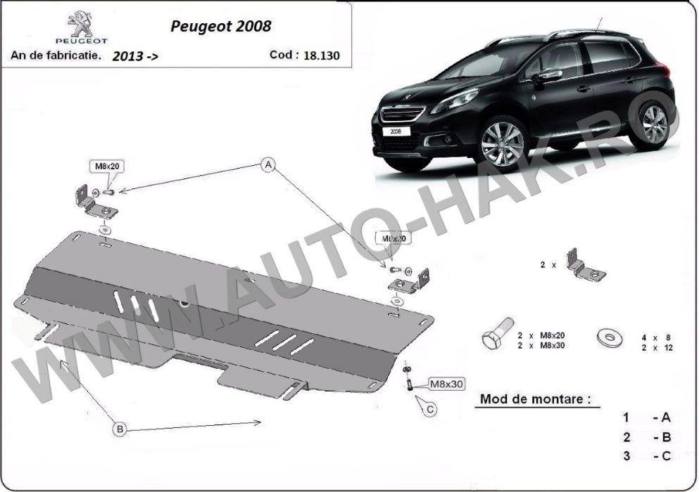 Scut motor metalic Peugeot 2008 2013-prezent - otel 2mm
