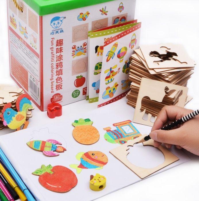 Детски комплект за рисуване с много формички от дърво + флумастри с кн