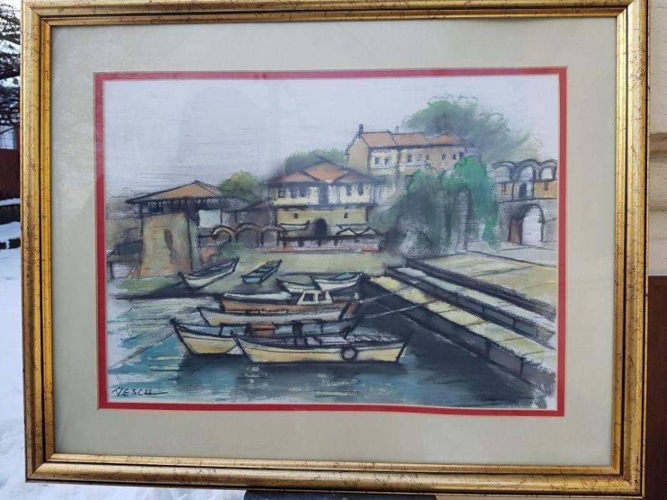""""""" Bărci în port """", Tablou splendid al pictorului Vescu Teodor, cu ramă"""