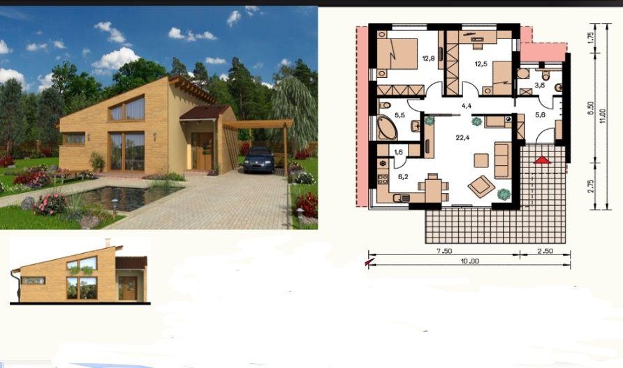 Kit casă stuctură lemn 98mp