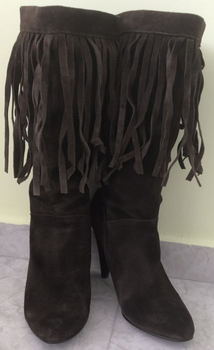 Велурени ботуши с ресни тъмно кафяво