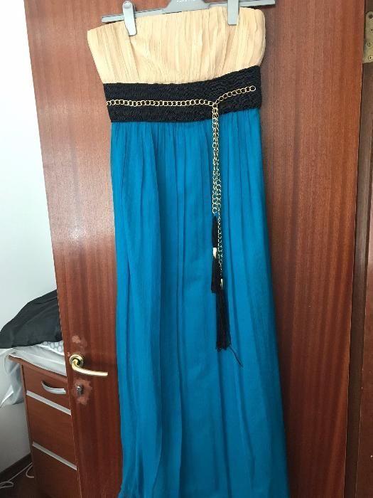 Rochie de ocazie Nissa crem/turcoaz