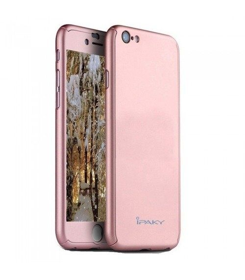 Husa iPaky cu protectie 360º pentru iPhone 8 ROSE-GOLD cu folie de pro
