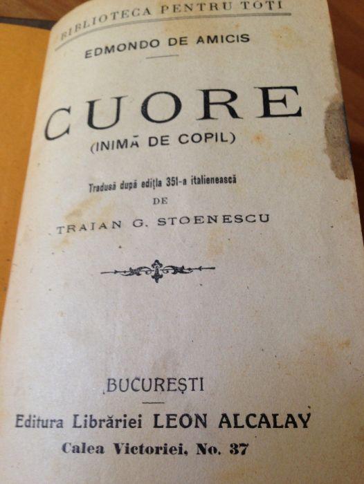 """Cuore, """"Biblioteca pentru toți"""" Editura Alcalay"""