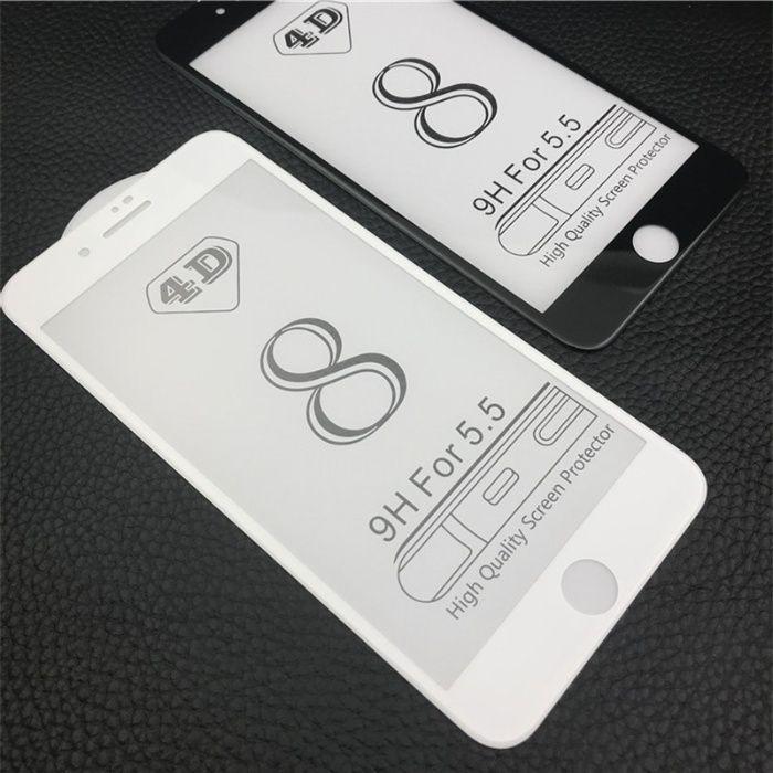 Folie Sticla Securizata 6D Neagra, Alba Iphone 6 6s+ 7 7+ 8 8+