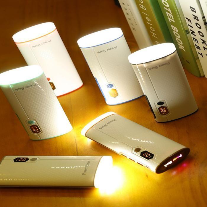 Baterie ext 20000 cu display, 3 USB, lanterna 5 LED SMD, Mood Light