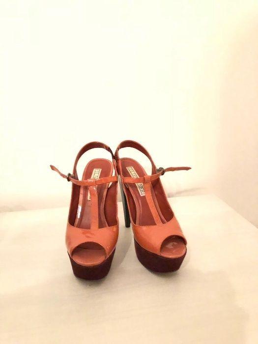 Sandale piele cu platforma culoarea somon marimea 38