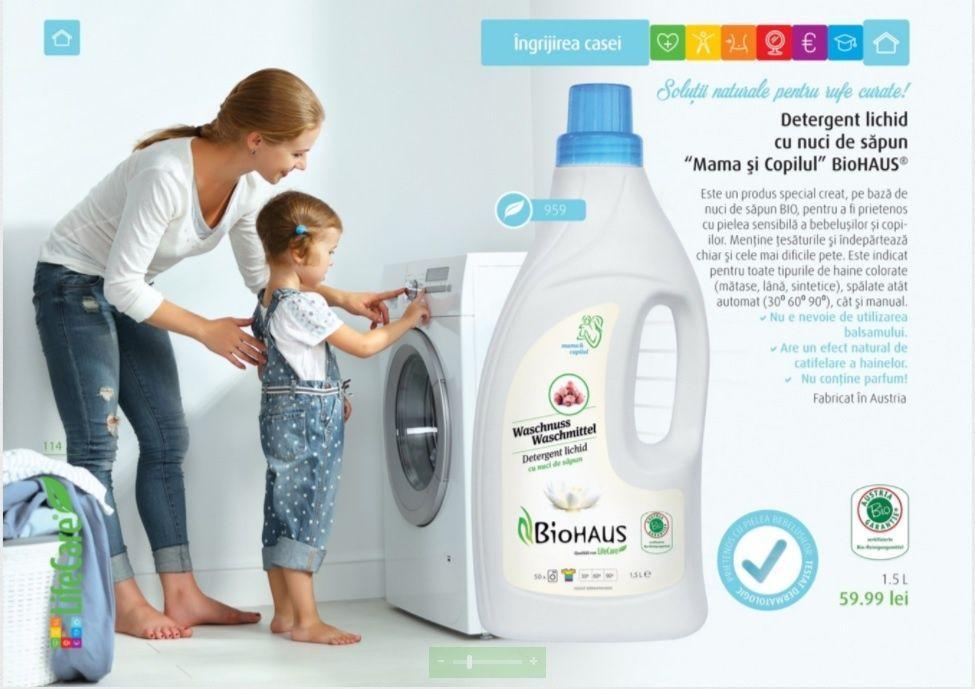 """Detergent lichid rufe BIO cu nuci de sapun, """"Mama si copilul"""""""