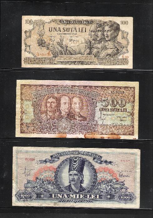 Bancnote Romania 100 lei 1947 , 500 lei 1949 , 1000 lei 1948