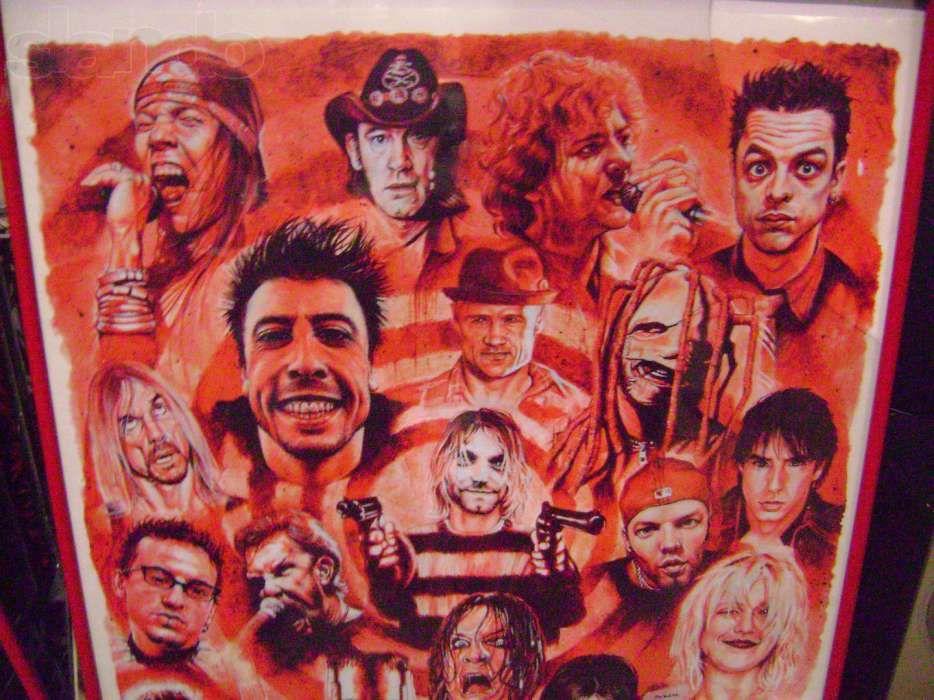 постер(плакат) коллаж рок-музыкантов