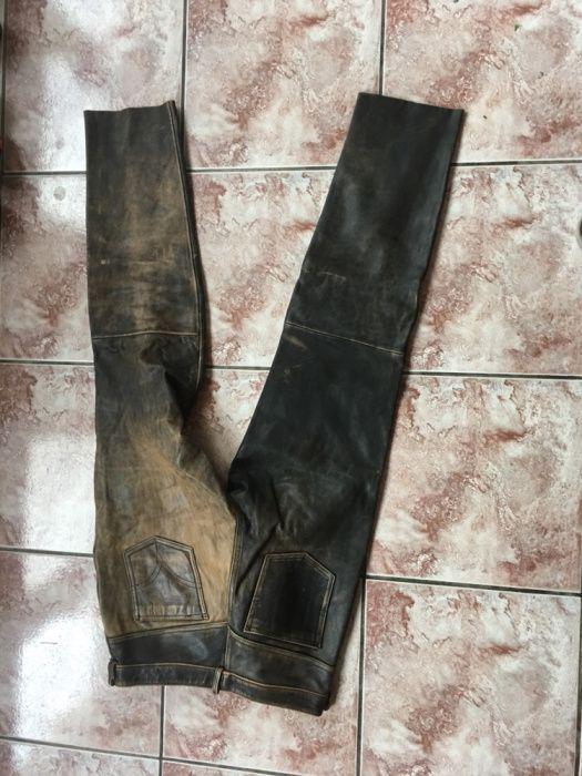 Pantaloni piele culoare maro vintage- marime S