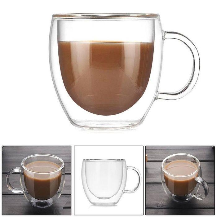 Комплект 2 бр чаши за кафе с тънкостенно двойно термо стъкло и дръжки