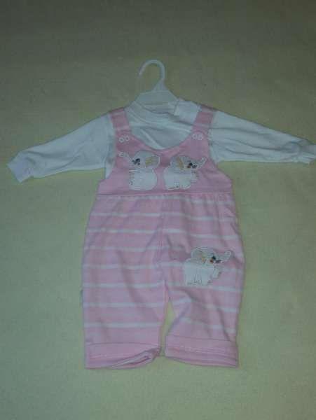 Нов бебешки гащеризон с бяла блузка за възраст 3-6 месеца