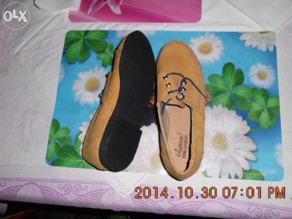Pantofi maro piele intoarsa naturala 23