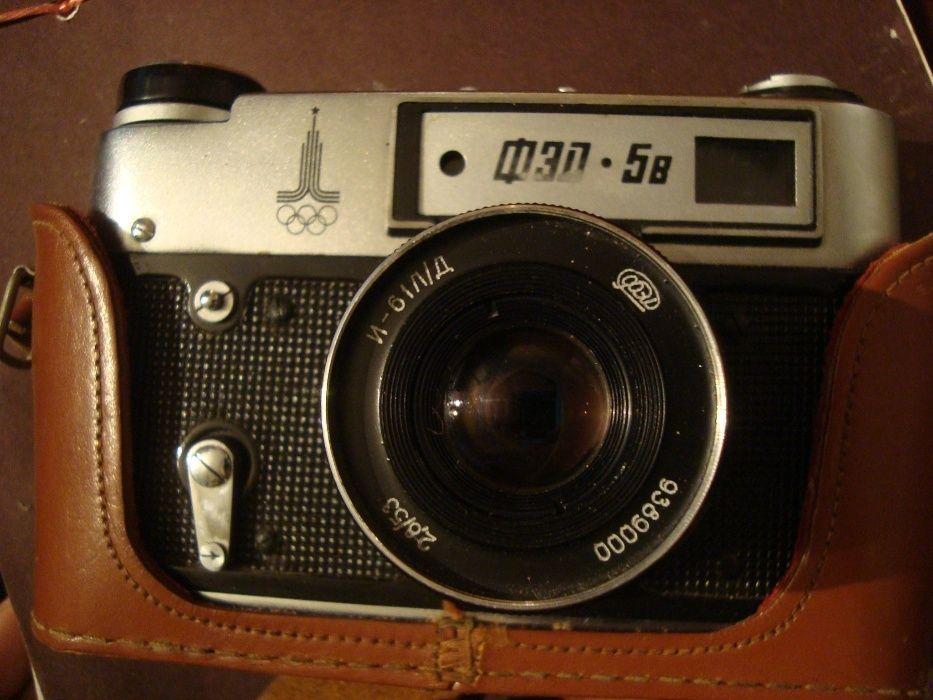 Aparat foto rusesc vechi FED 5B +bliț Foton, perfect funcțional