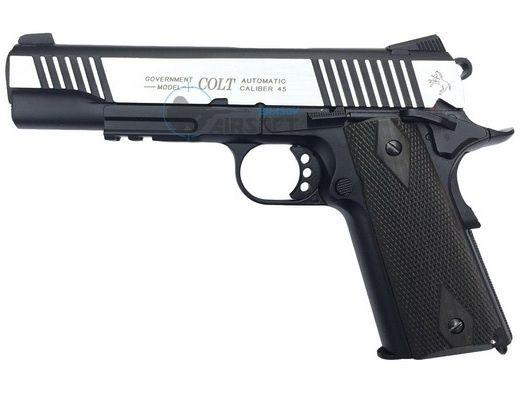 Pistol Airsoft Colt 1911 RAIL GUN SILVER Dual Tone