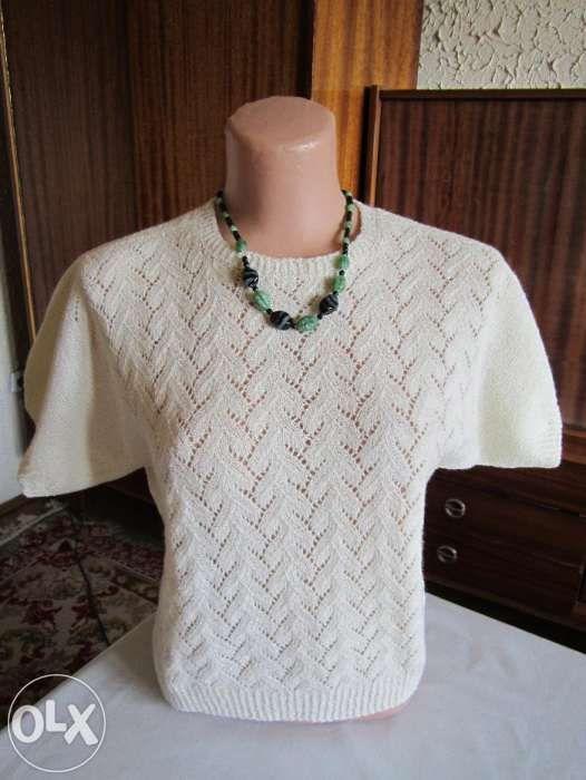Bluza alba tricotata manual + bonus si Livrare gratuita*