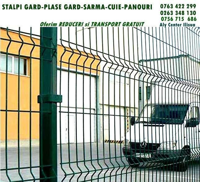 Stalpi beton capace gard panouri plasa impletita sarma cuie rabit