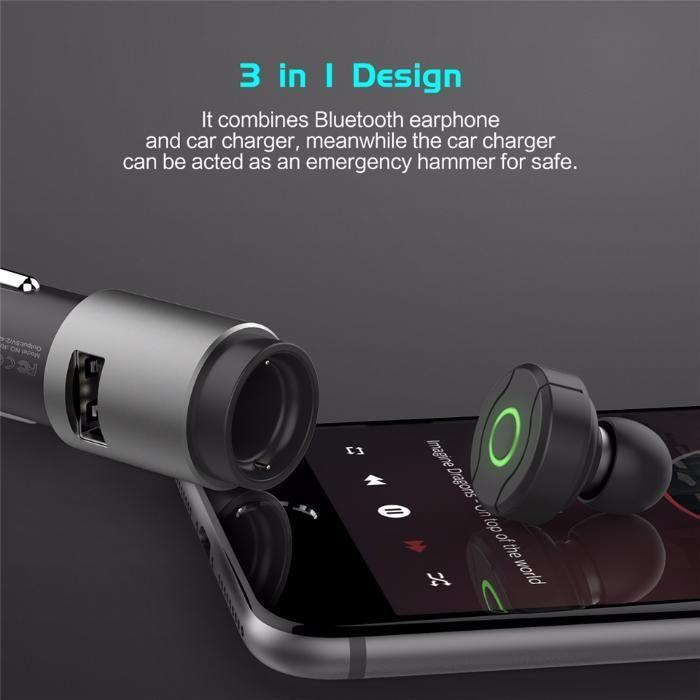 casca Bluetooth smartphone+ Încărcător auto iesire Usb Hammer