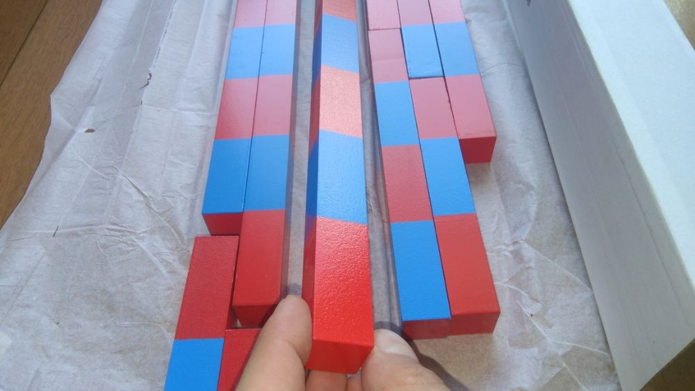 Монтесори Дървени Числови Летви синьо-червени пръчки стикове гр. Бургас - image 7