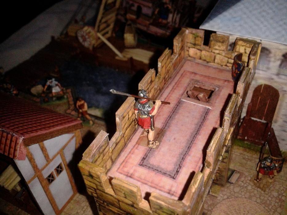 Port roman cu machete si figurine soldati romani pictati 1/72 diorama