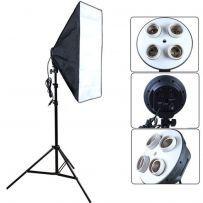 Kit lampa cu 4 socluri E27 si softbox 60 x 90 cm pt foto, videochat