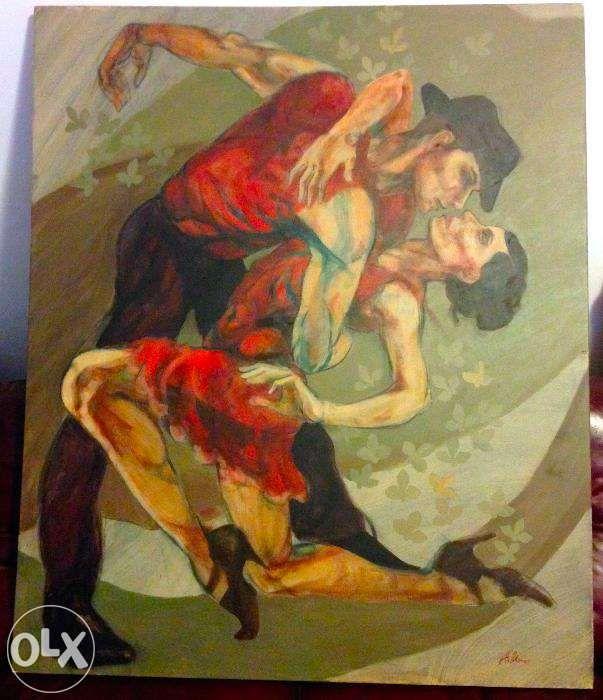 OCAZIE toblou pictat pe panza, semnat A. Manea 140 X 120 cm mare