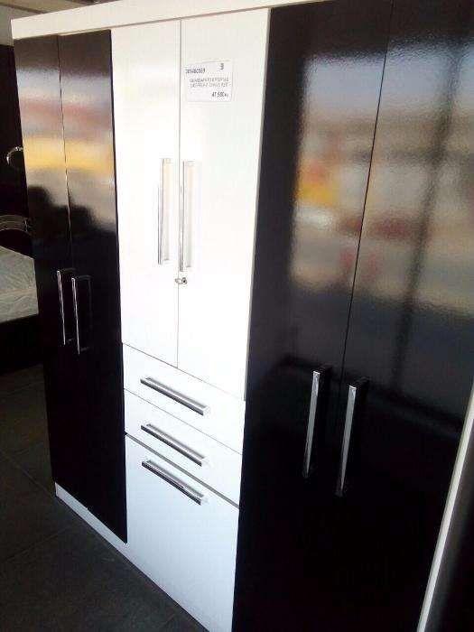 Roupeiro de 6 porta cor branco-Preto, Directo entrega é montagem,
