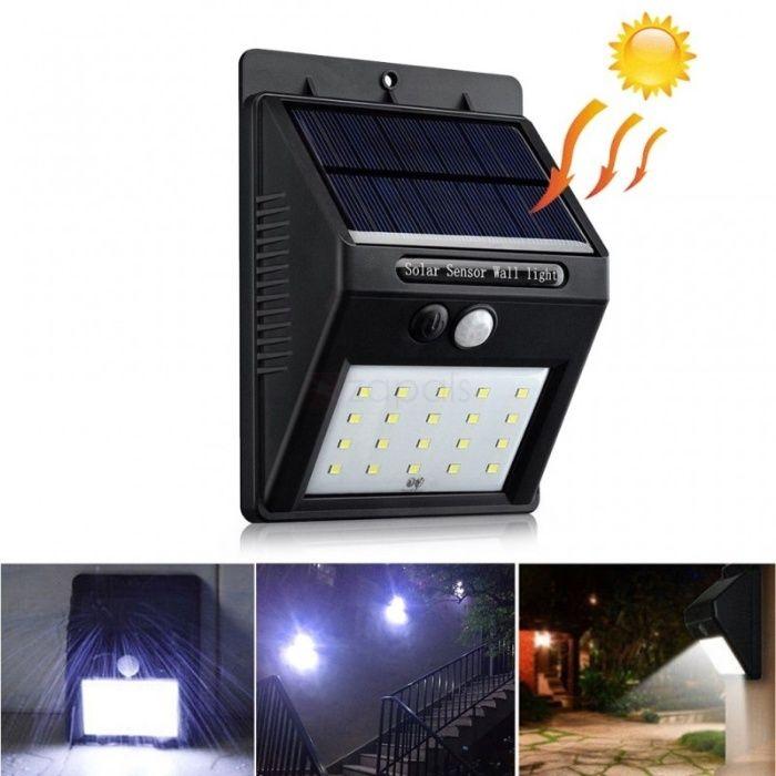 20-LED водоустойчива слънчева стенна светлина PIR сензор за движение в