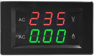 Voltmetru/Ampermetru Dig., LED-Uri, 6 Digiti, C. A., 60-300V/0-10A