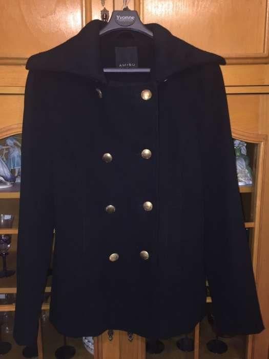 Palton army negru din stofa cu nasturi metalici de bronz