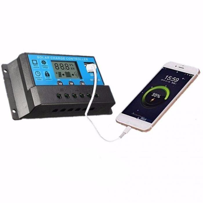 Regulator solar 10A 20A 30A 12V/24V Display LCD, USB, Controler PWM