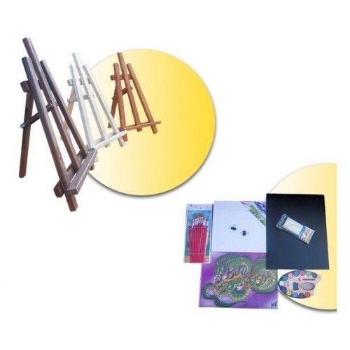 Sevalet din lemn 60 cm, cu tabla de scris si accesorii pictura.