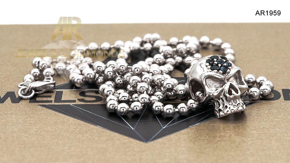 Lantisor Army Aur Alb 14 K Skull Collection ARJEWELS(AR1959)