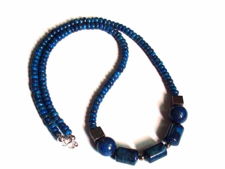 Colier barbati unisex din Argint Lapis lazuli Pirita, Choker elegant