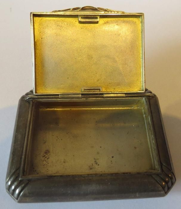 Tabachera argint vintage ( caseta de prizat tutun )