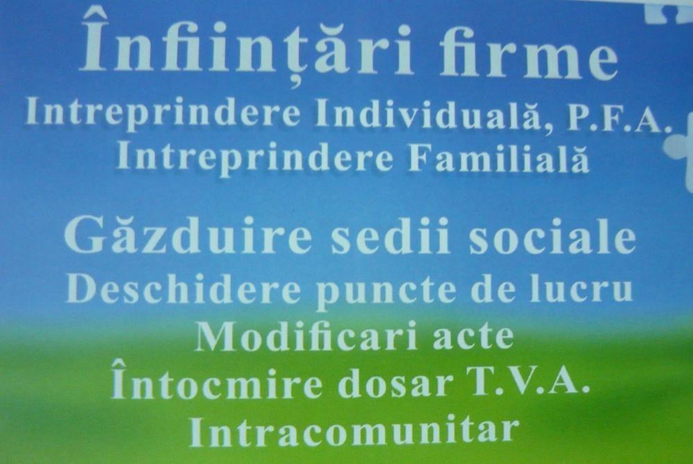 Infiintari firme ,Pfa , i.i ,deschidere punct de lucru s.r l