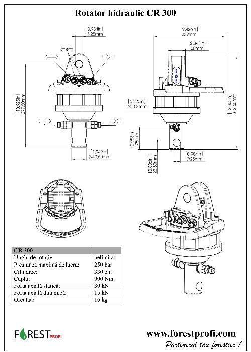 Rotator hidraulic 3 tone cu ax pentru graifer Alba Iulia - imagine 4