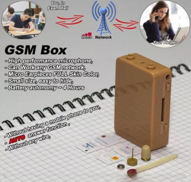 Cutiuta GSM de copiat +micro casca de copiat + sisteme casti 5 baterii