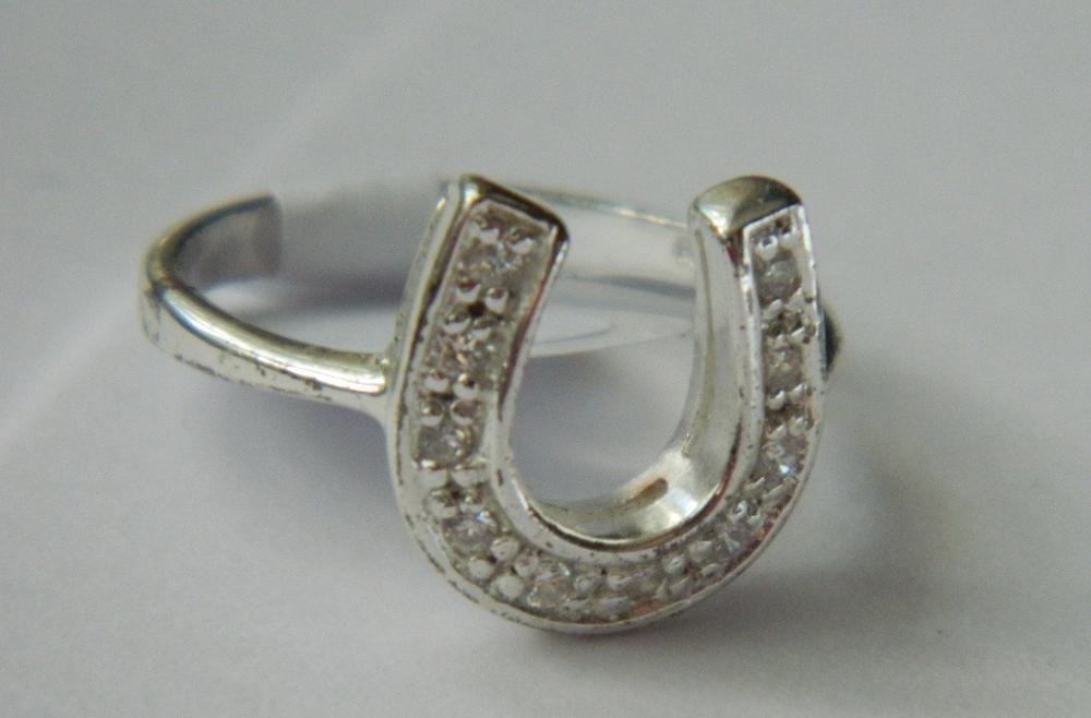 R38,inel argint 925,nou/marcat, potcoava zircon alb