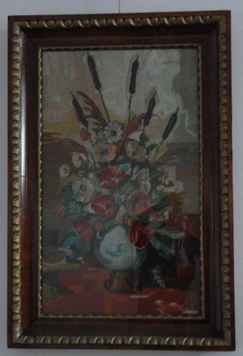 Goblen mare inramat vas cu flori