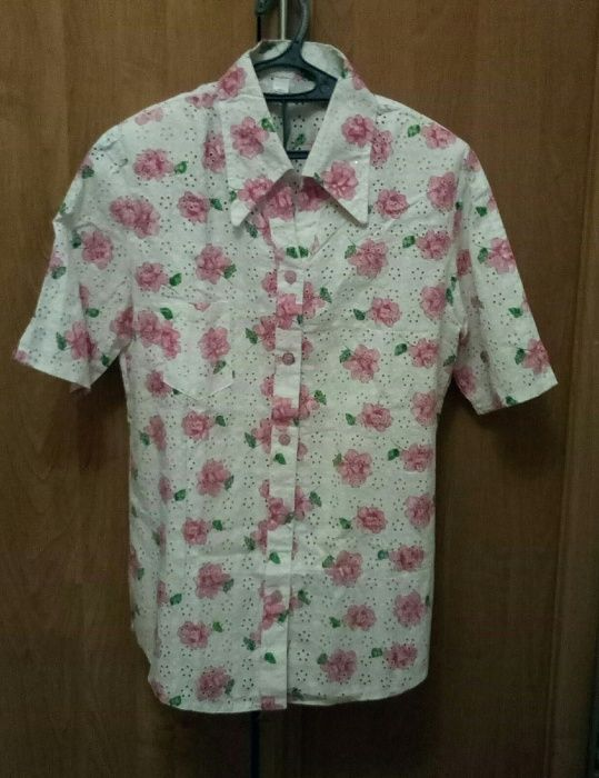 Блузка-рубашка хб+лен. Женская 48 р-р.