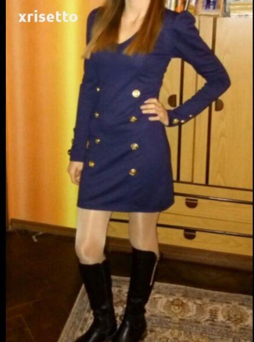 Къса памучна рокля в тъмно синьо